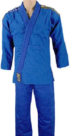Double Weave Blue BJJ Uniform With USA and Brazil Flags